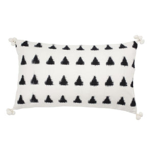 Handmade ethical cushion with ikat design and tassels