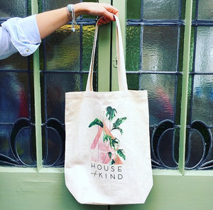 Limited edition, ethical, cotton tote bag with House of Kind logo designed by Nikki Strange