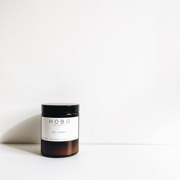 Hand poured, vegan soy wax candle in brown glass jar - Fig and Cassis