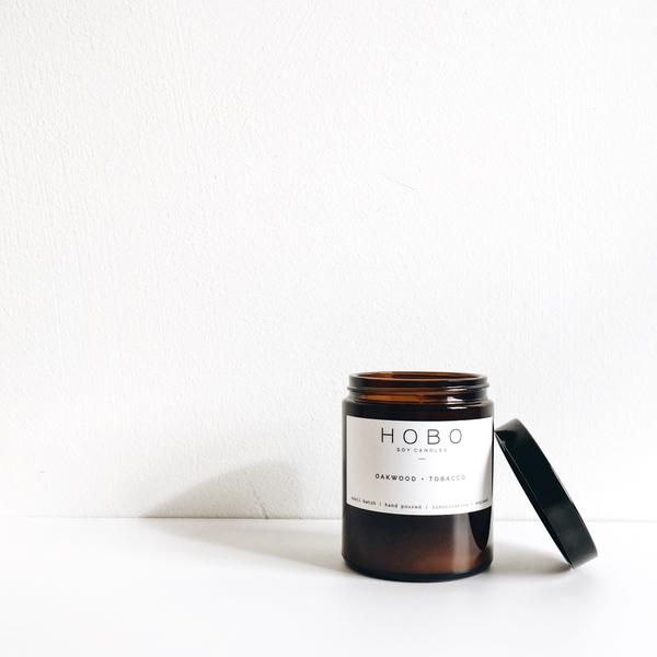 Hand poured, vegan soy wax candle in brown glass jar - Oakwood and Tobacco