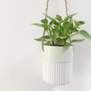 Handmade Hanging Porcelain Planter - Pistachio Glaze close up