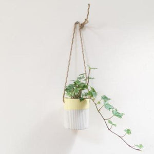 Handmade Hanging Porcelain Planter - Lemon Glaze
