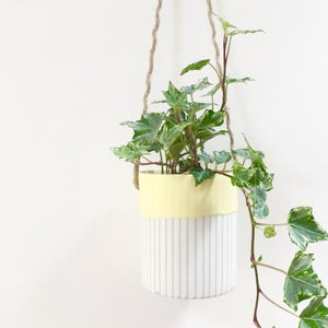 Handmade Hanging Porcelain Planter - Lemon Glaze close up