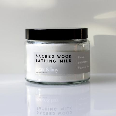 Sacred wood bathing milk in jar