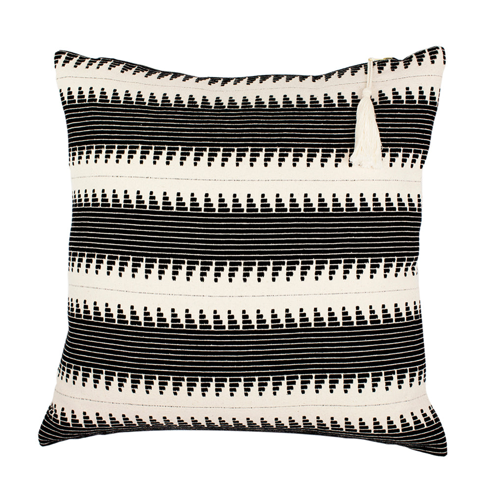 Handmade ethical cushion with global stripe design and tassel
