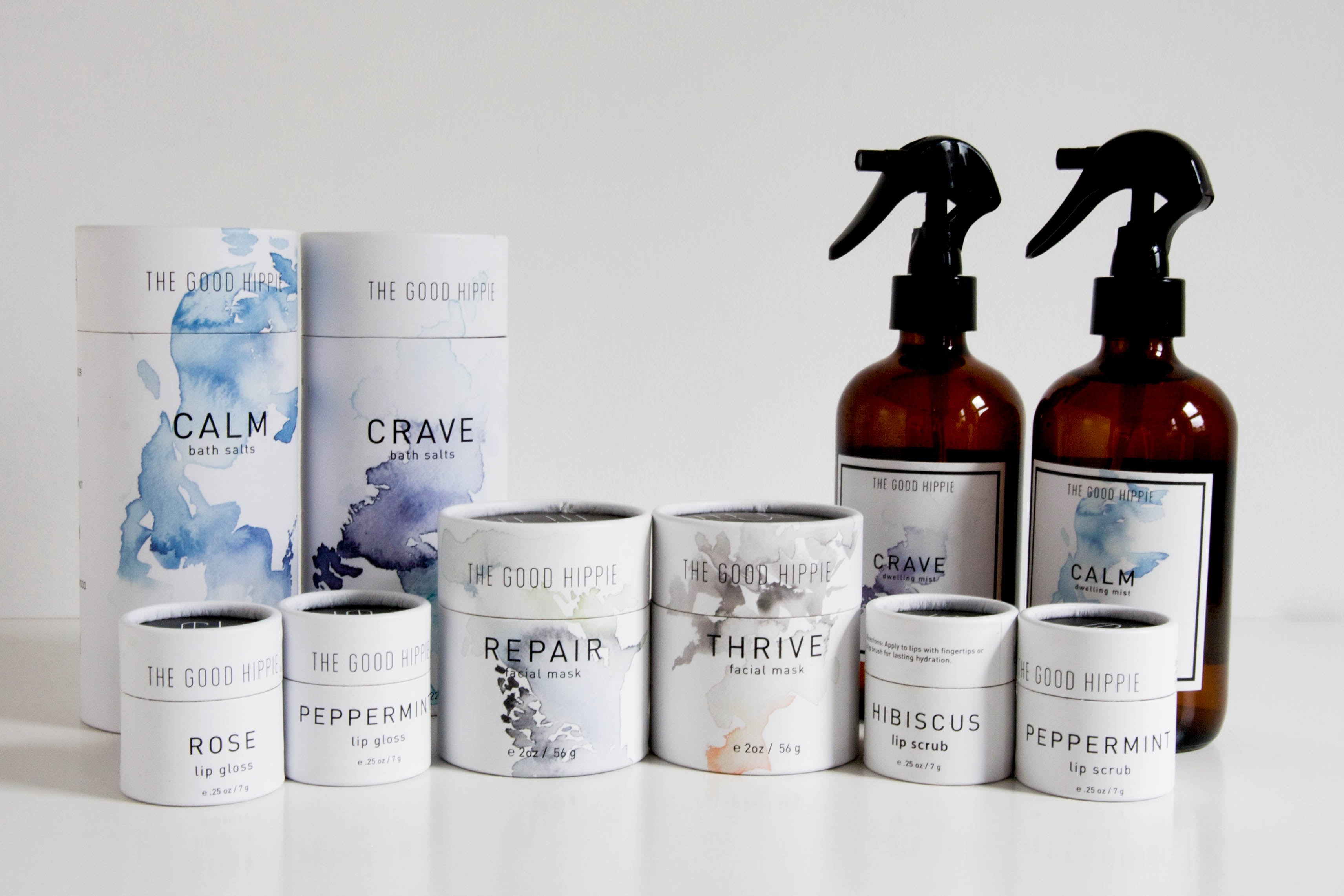 Group shot of The Good Hippie range of vegan bath and beauty products