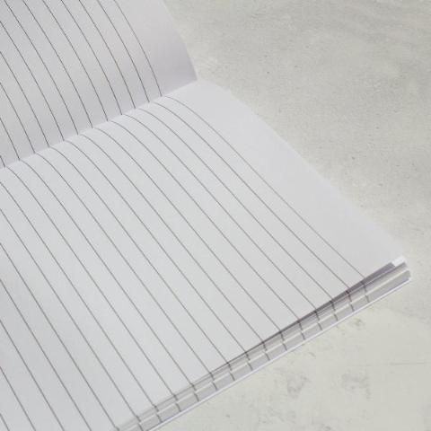 Inside of celestial birds notebook showing lined paper