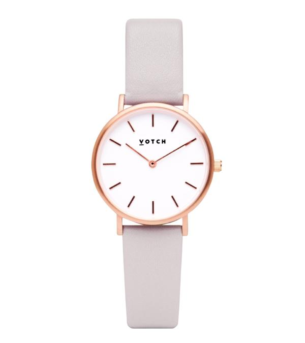 Vegan Leather Watch - Grey and Rose Gold