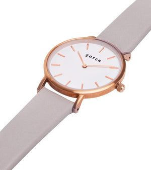Vegan Leather Watch - Grey and Rose Gold Close Up