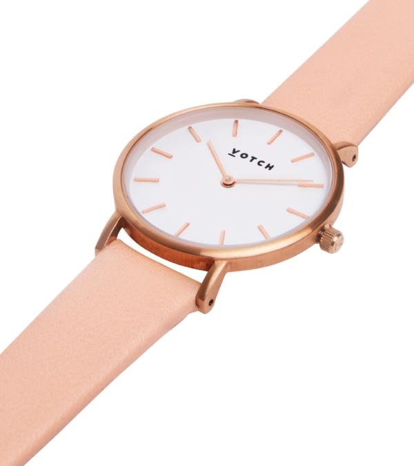 Votch Vegan Leather Watch - Pink and Rose Gold Close Up