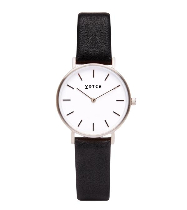 Vegan Leather Watch - Black and Silver