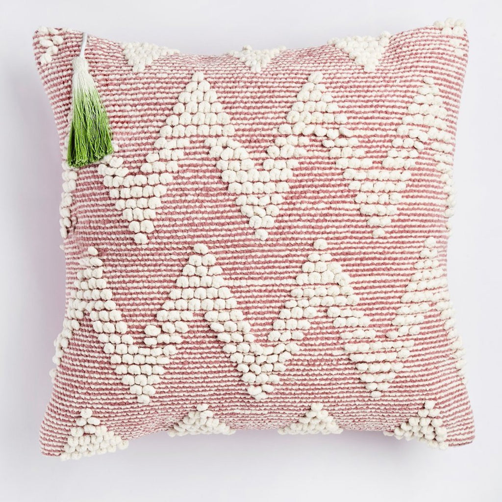 pink aalto cushion with coloured tassle