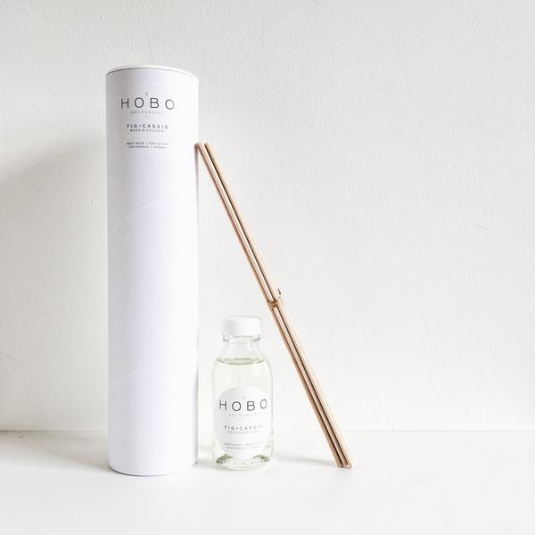 Scandi style room diffuser in glass bottle with reeds - Fig and Cassis