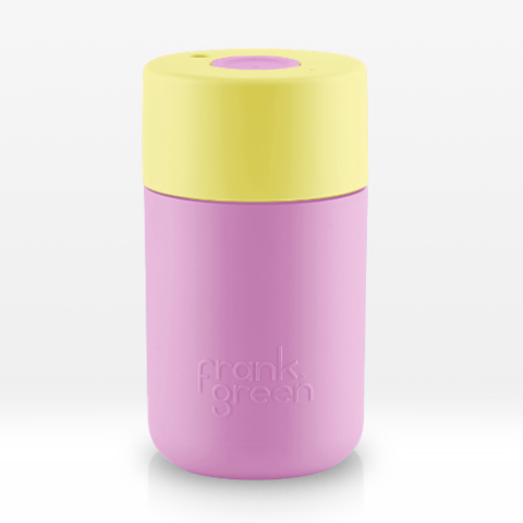 Reusable smart cup 12oz pink base, yellow lid, pink push button