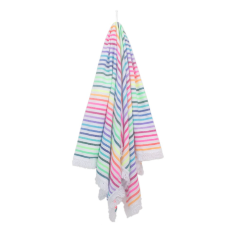 LA IRIS Fringed Mexican Woven Beach Blanket recycled cotton