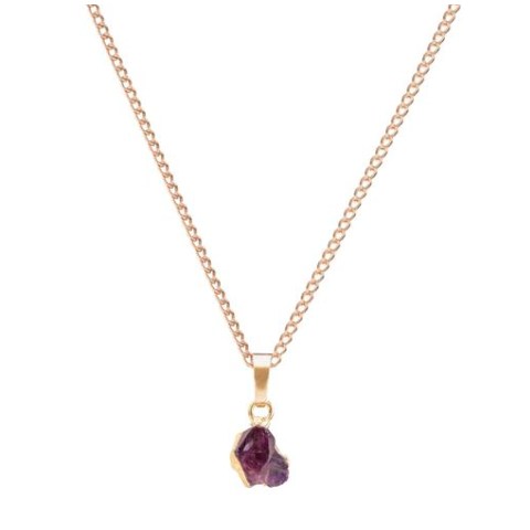Mini Raw Cut Gemstone Necklace - Amethyst (Peace)