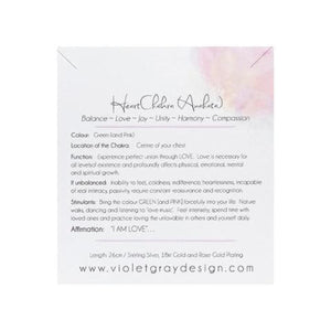 story card for rose gold heart chakra necklace