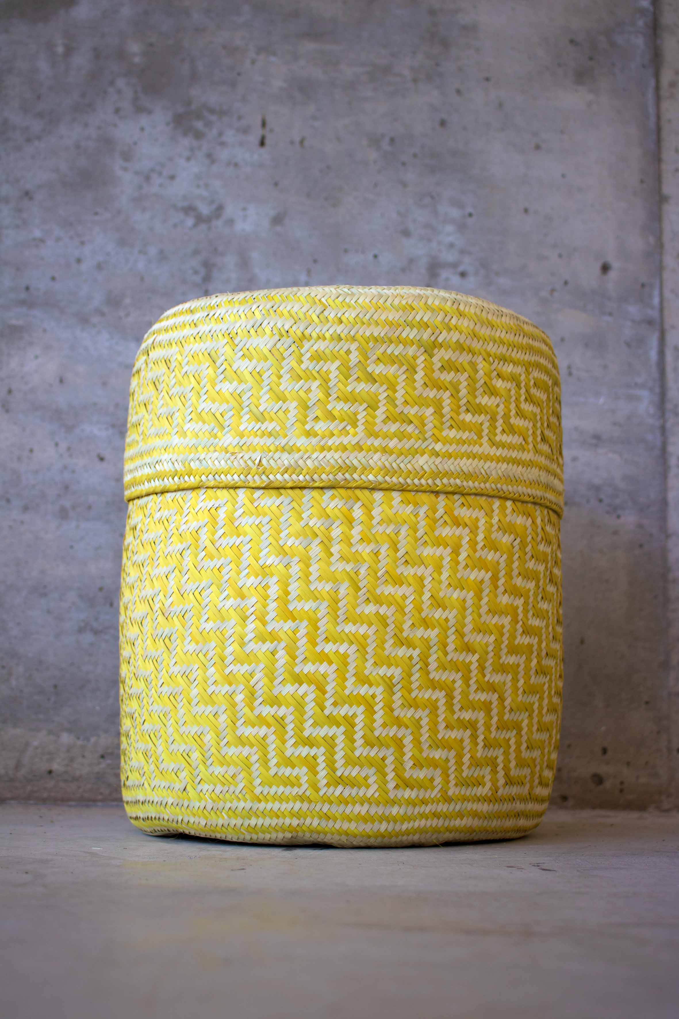 Handmade, ethical and sustainable palm basket from Mexico - Large Yellow