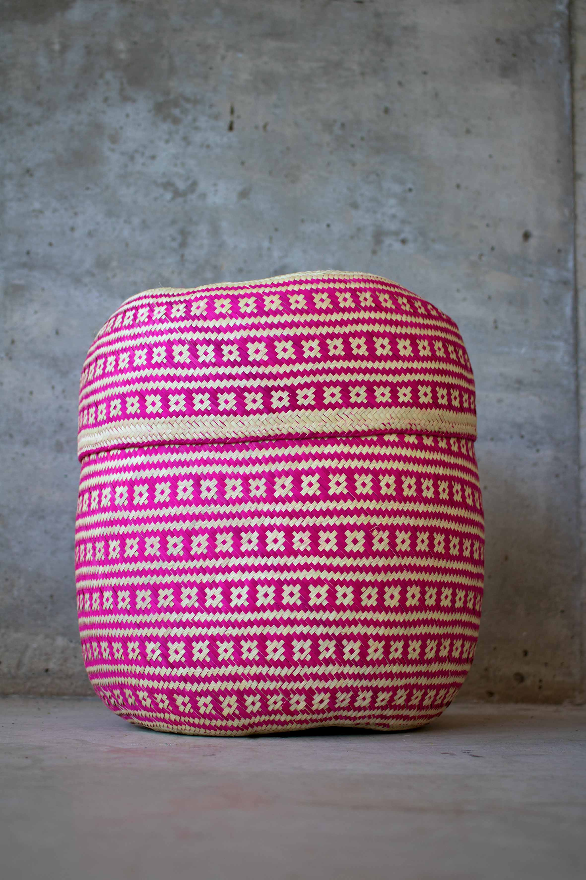 Handmade, ethical and sustainable palm basket from Mexico - Large Pink