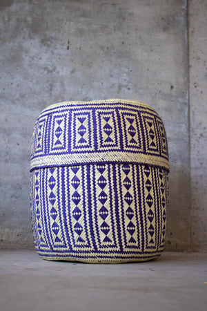 Handmade, ethical and sustainable palm basket from Mexico - Large Purple
