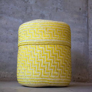 Handmade, ethical and sustainable palm basket from Mexico - Medium Yellow