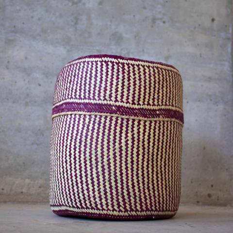 Handmade, ethical and sustainable palm basket from Mexico - Medium Purple