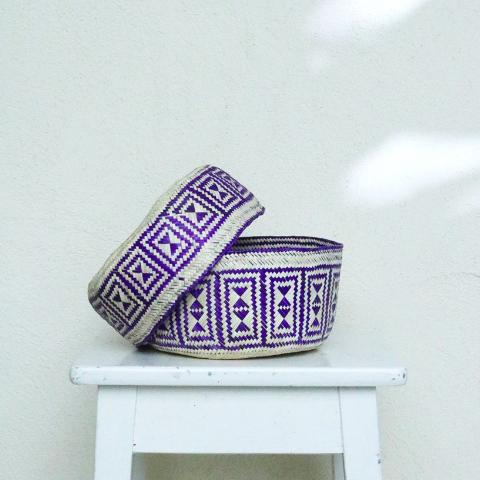 Handmade, ethical and sustainable palm basket from Mexico - Small Purple