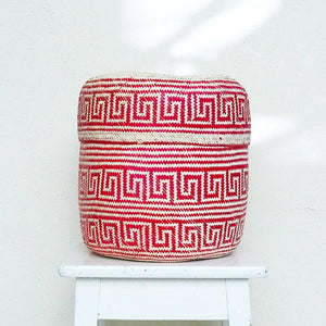 Handmade, ethical and sustainable palm basket from Mexico - Large Red