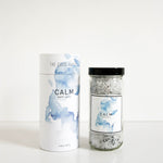 Glass jar of vegan, cruelty free and natural bath salts - Calm