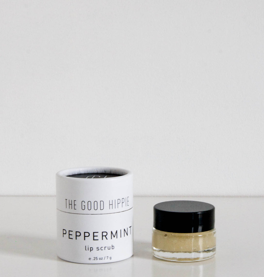 Vegan, cruelty free and natural peppermint lip scrub in small glass jar