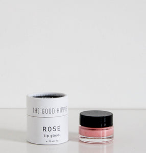 The Good Hippie Vegan, cruelty free and natural rose lip gloss in small glass jar