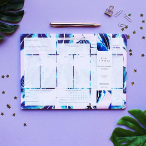 NIKKI STRANGE Eco friendly RECYCLED A4 wellness WEEKLY planner with pink tropical design