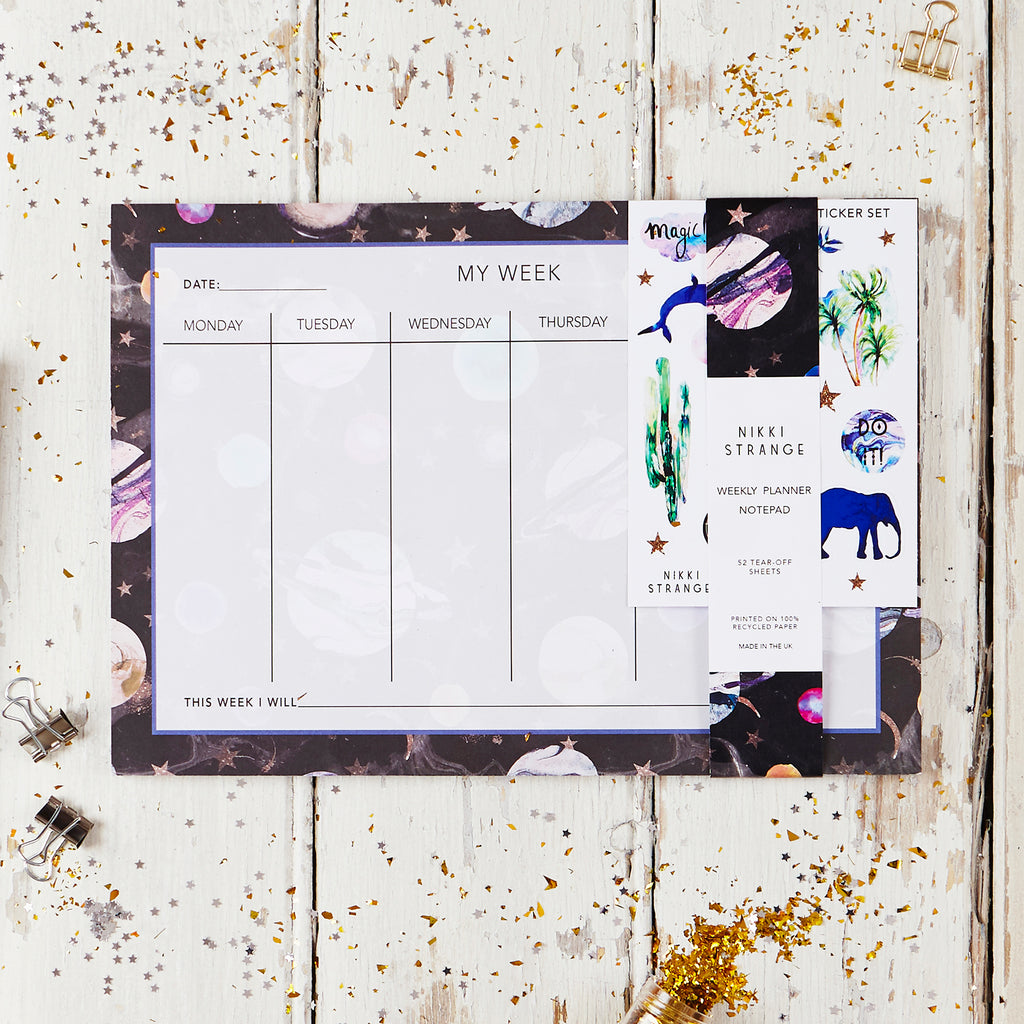 NIKKI STRANGE Eco friendly RECYCLED A4 WEEKLY planner / organiser with space design and stickers