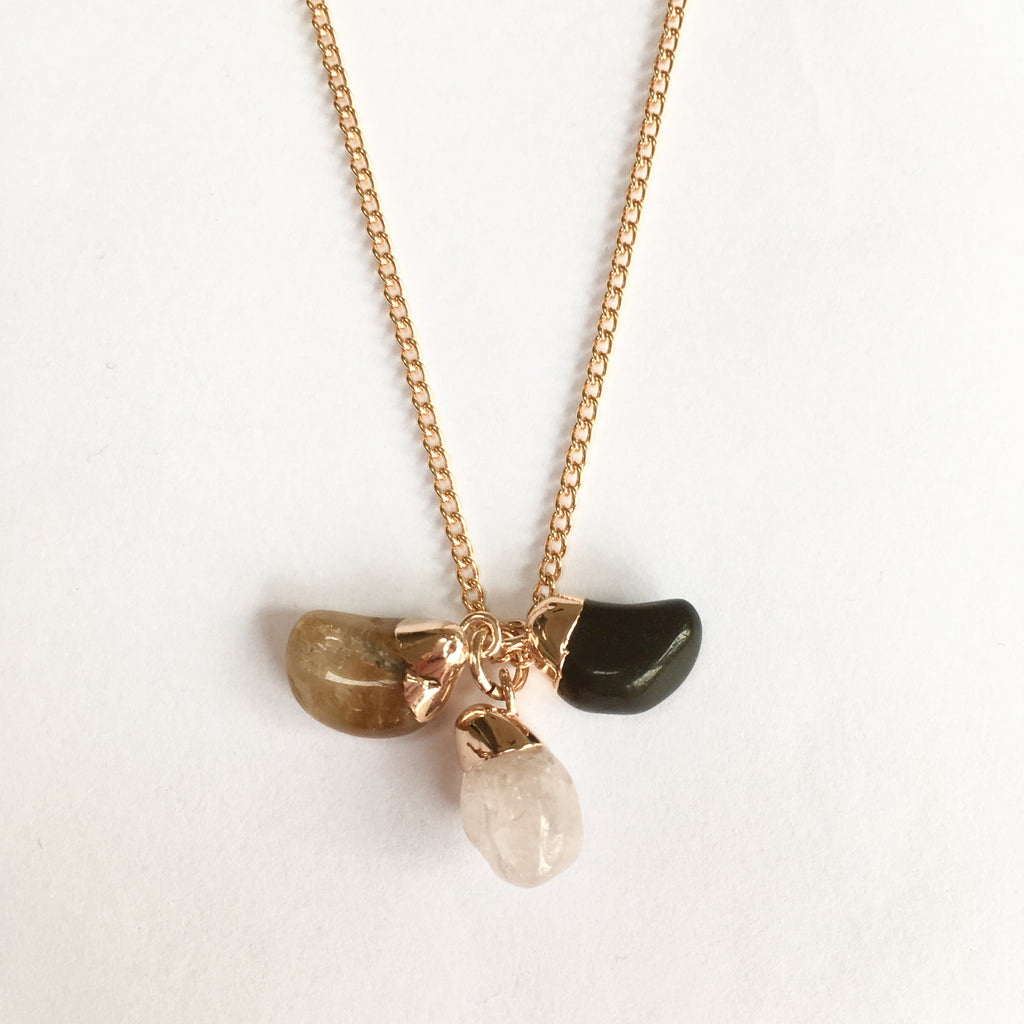 Triple Tumbled Gemstone Necklace - Love, Strength & Success