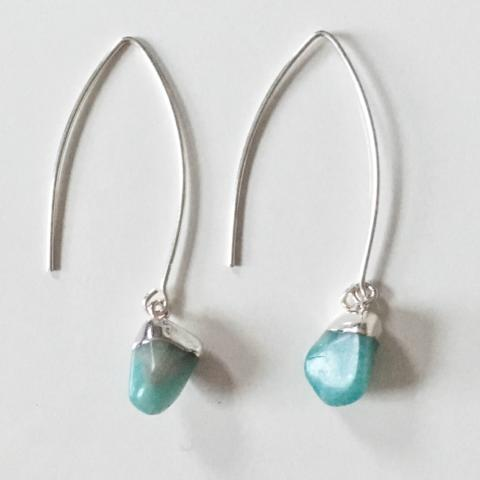 Mini Tumbled Dropper Earrings Amazonite (Confidence and Calm)