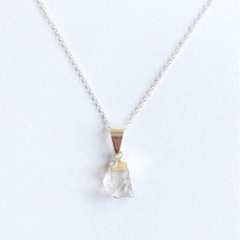 Mini Raw Cut Gemstone Sterling Silver Necklace - Quartz (Healing)