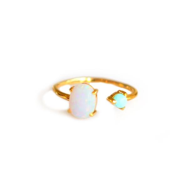 Opal and turquoise dual ring