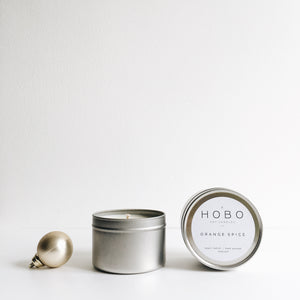 Hand poured, vegan soy wax candle in travel tin with lid - Citrus and Basil