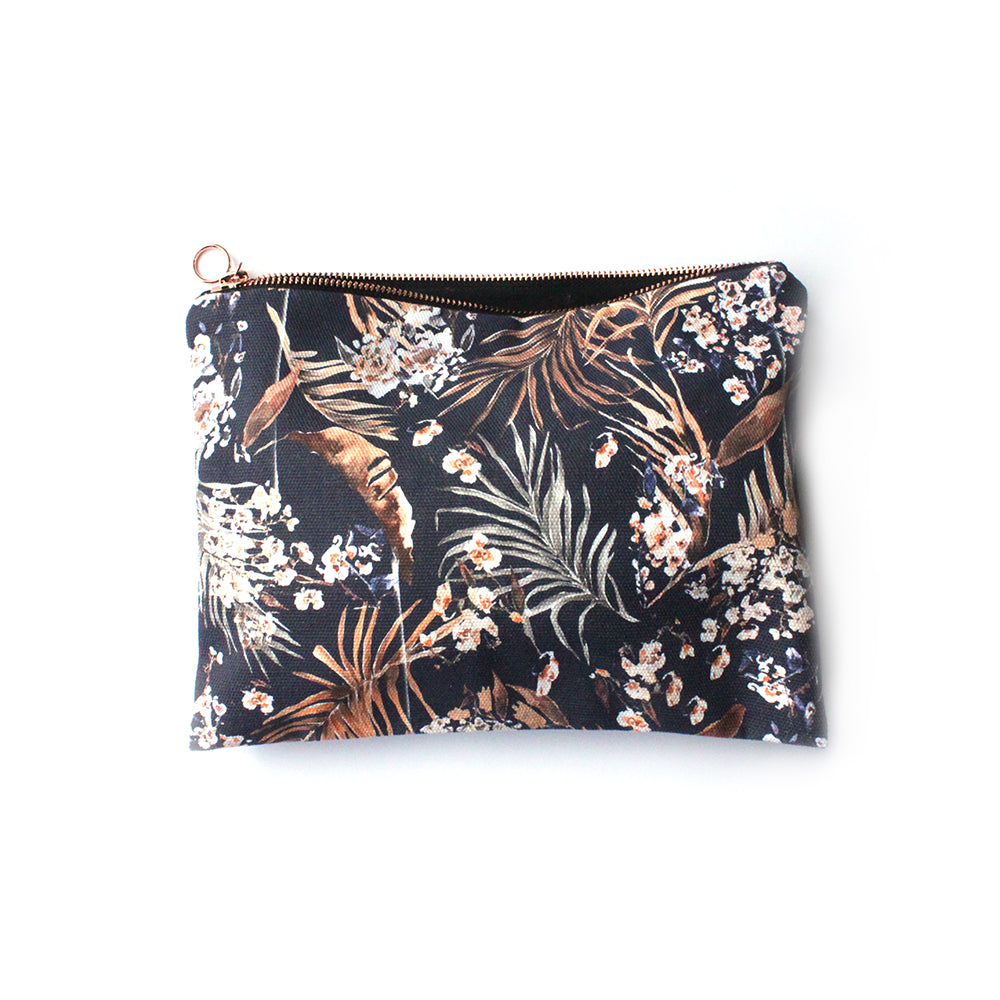 Ethical cotton wash bag/travel pouch with an oriental design