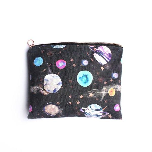 Ethical cotton wash bag/travel pouch with marble galaxy design
