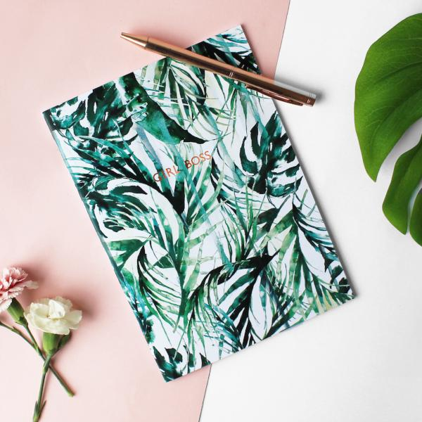 NIKKI STRANGE Sustainable notebook with paradise palms design and girl boss metallic foil print on the centre
