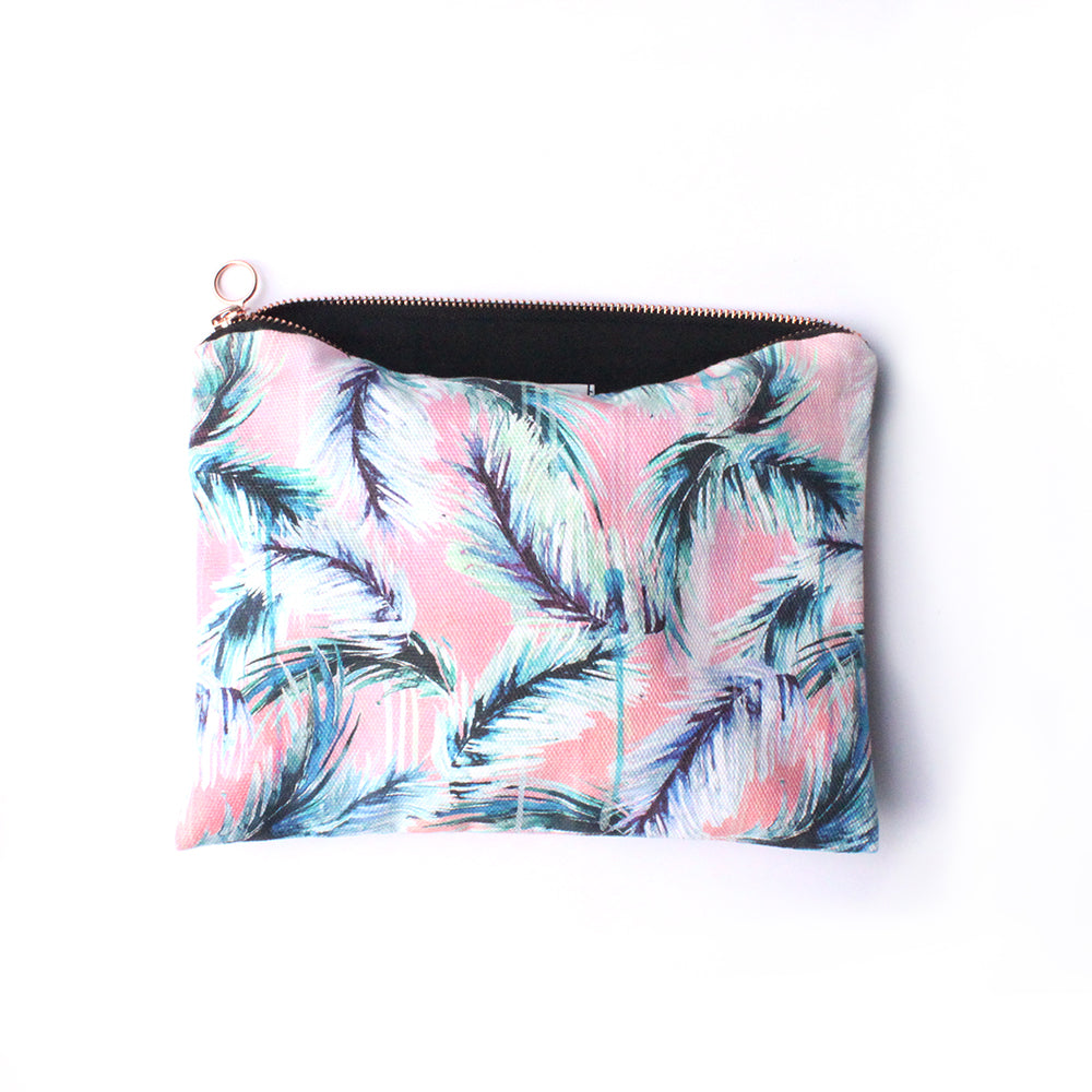 Pink, ethical cotton wash bag/travel pouch with palm leaf design