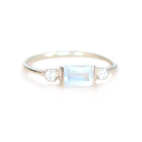 Sterling Silver Rainbow Moonstone and Diamond Sky Ring