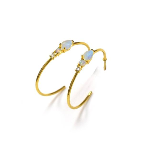 Rainbow moonstone, Opal & Topaz Elise Hoops 18kt yellow Gold Vermeil