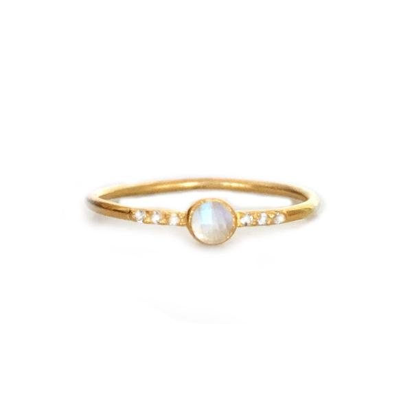Rainbow Moonstone and Topaz Galaxy Ring 18kt Gold Vermeil