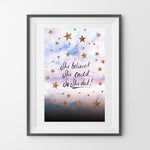 NIKKI STRANGE She believed she could so she did art print with cloudy star design