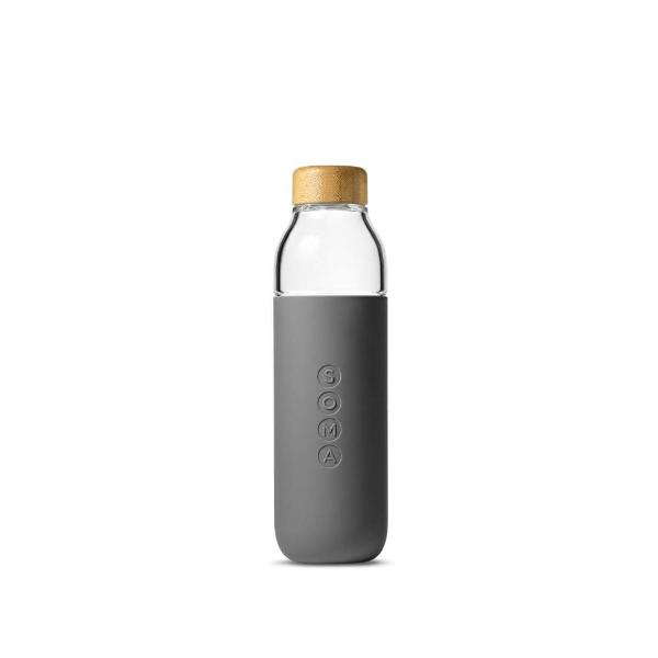 Soma glass water bottle in grey silicone wrap with bamboo lid
