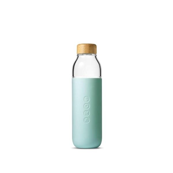 Soma glass water bottle in mint silicone wrap with bamboo lid