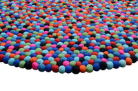 multi colored felt ball rug