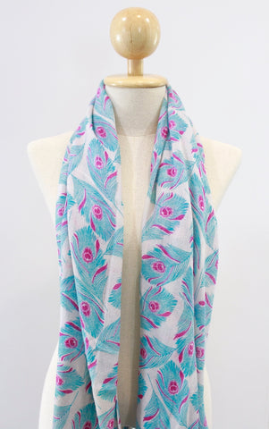 100% Cashmere Feather Blue & Pink Pashmina Shawl/Scarf